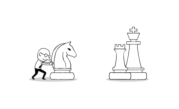 Businessman moving a big chess knight forward to success Premium Vector