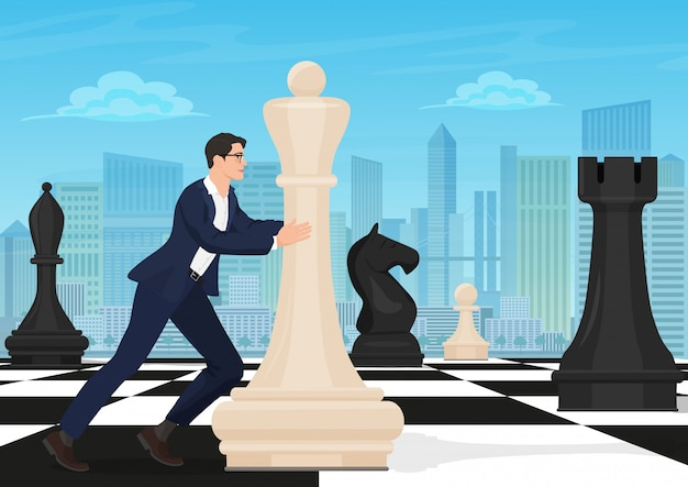 Businessman moving chess figure Premium Vector