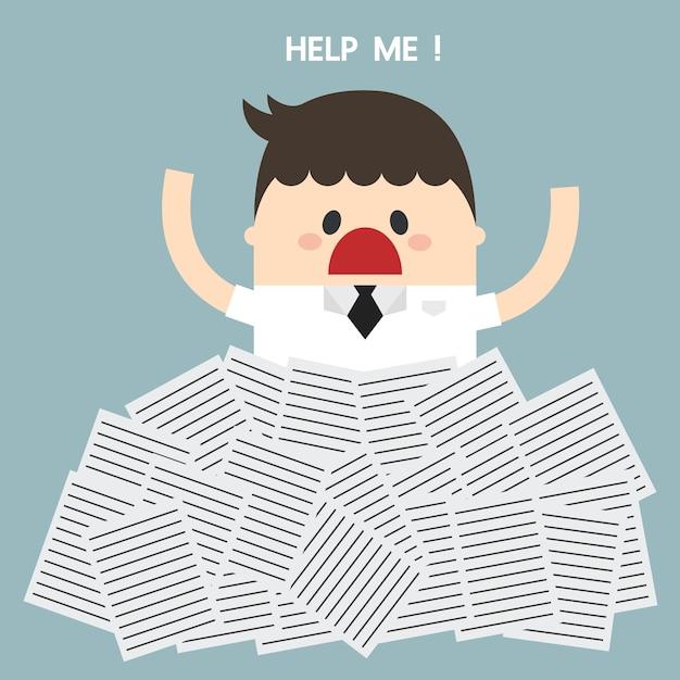 ビジネスマンは、多くの白書の下で助けが必要です Premiumベクター