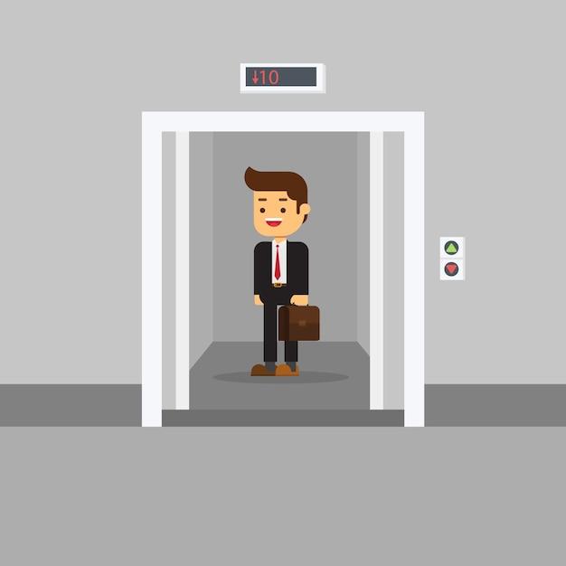Businessman in office building elevator Premium Vector