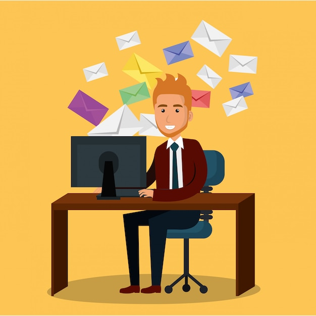 Businessman in the office with e-mail marketing icons Free Vector