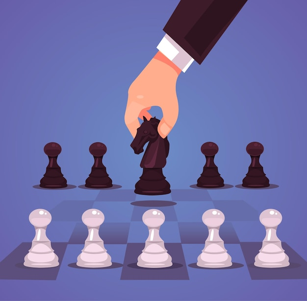 Businessman office worker manager character hand make business strategic chess move horse. Premium Vector
