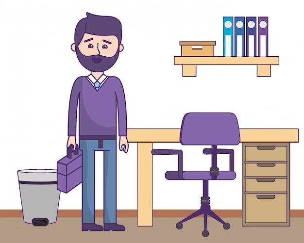 Businessman at office Premium Vector