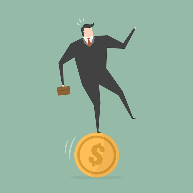 Businessman on a coin Free Vector
