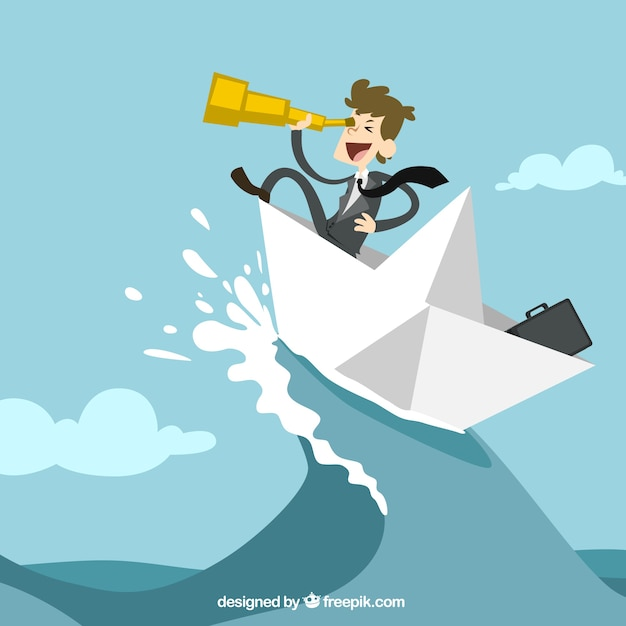 Businessman on a paper boat Free Vector