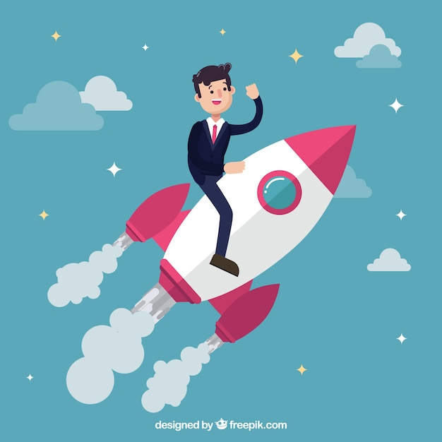 Businessman on a rocket Free Vector