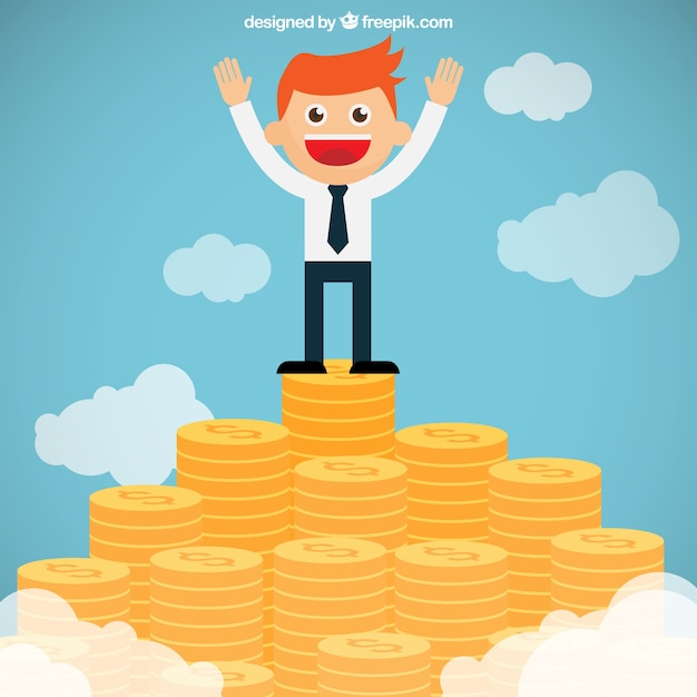 Businessman on the top of a money\ mountain