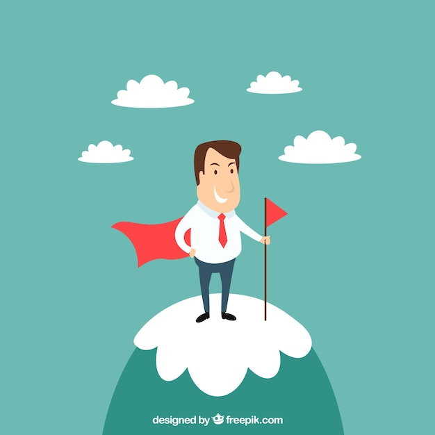 Businessman on the top of a mountain Free Vector