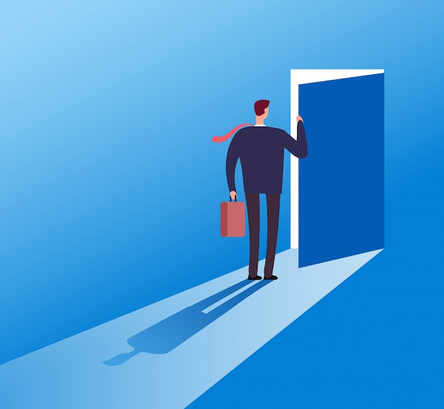 Businessman opening secret door. opportunity, accessible entering. risk solution and leadership business vector concept illustration Premium Vector