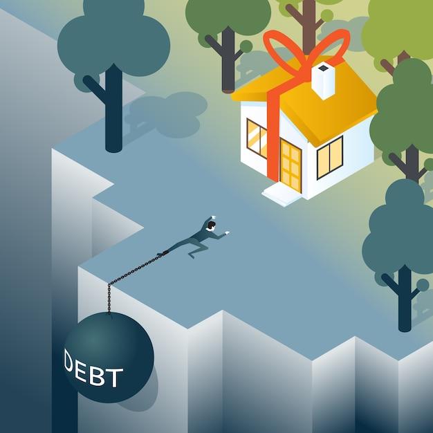 借金の重みを持つビジネスマンや消費者は、深淵から登っています。住宅と借金、住宅ローンと不動産。ベクトルイラスト 無料ベクター