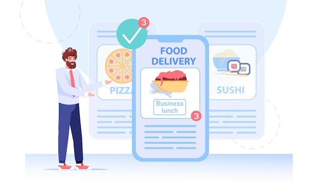 앱으로 점심 식사를 위해 음식을 주문하는 사업가 프리미엄 벡터
