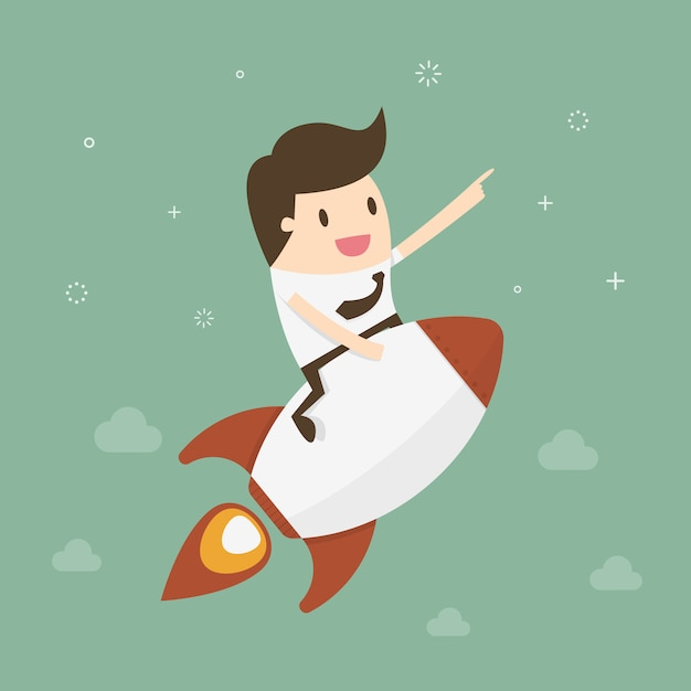 Businessman over a rocket Free Vector