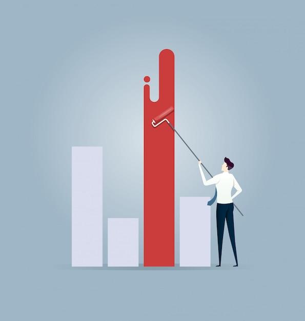 Businessman painting chart Premium Vector