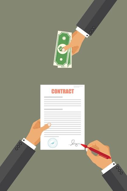 契約図のビジネスマンを支払う Premiumベクター