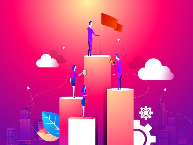 Businessman point to flag at peak of mountain and man run to goal. Premium Vector