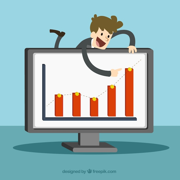 Businessman pointing at a board of profit Free Vector