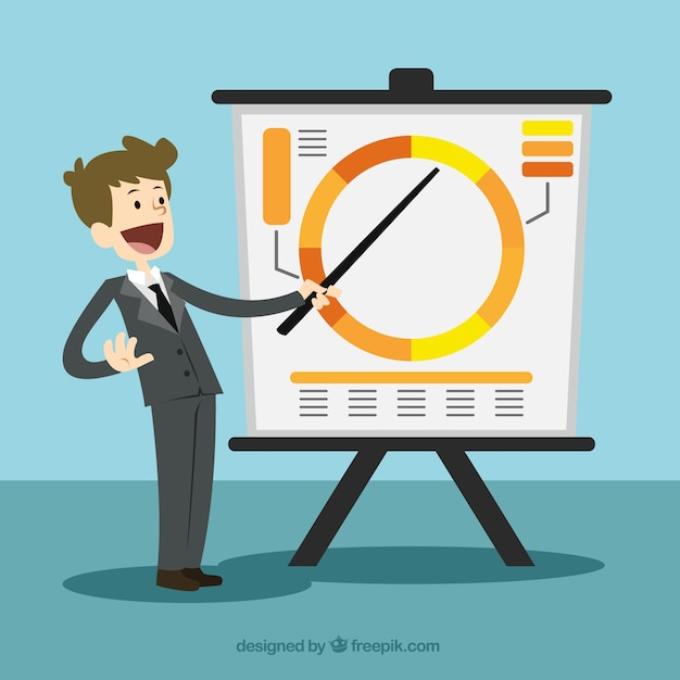 Businessman pointing at a board Free Vector