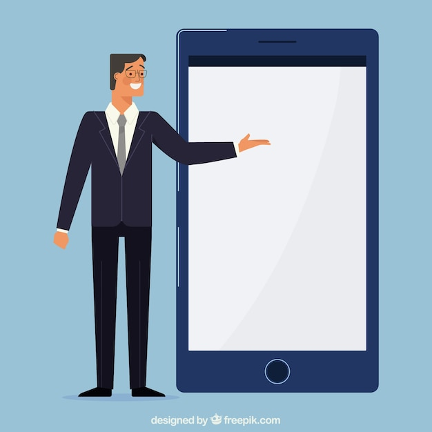 Businessman pointing at a mobile screen Free Vector