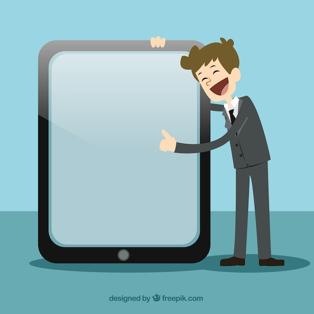 Businessman pointing at a screen Free Vector