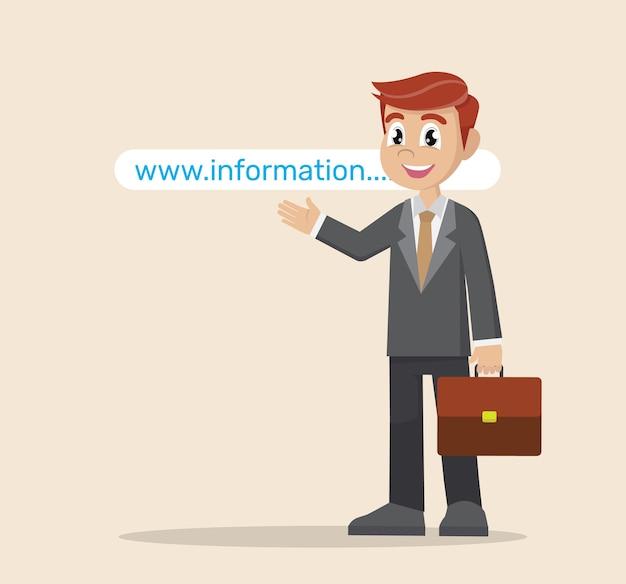 Businessman pointing to website address. Premium Vector