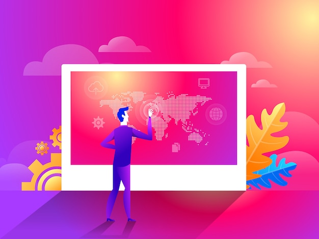 Businessman pointing world map geographic global presenting location Premium Vector