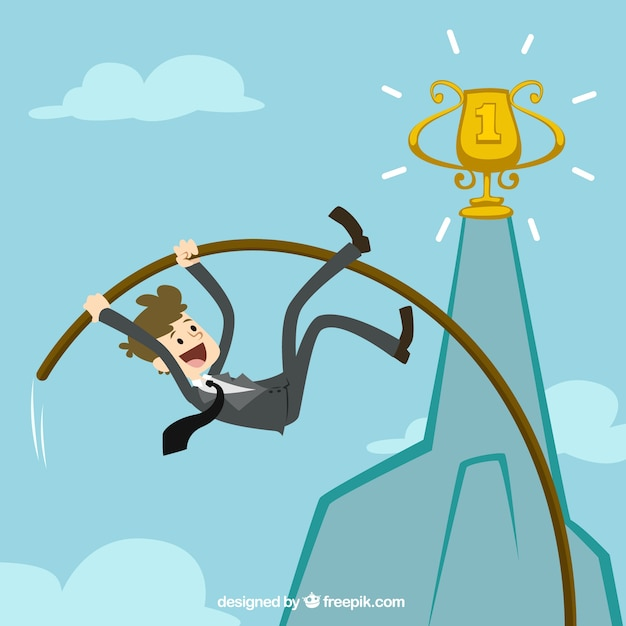 Businessman pole vaulting to achieve his goal Free Vector