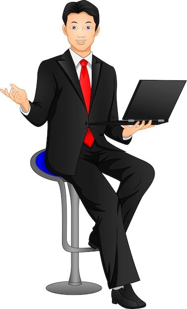 ポーズとラップトップを保持している実業家 Premiumベクター