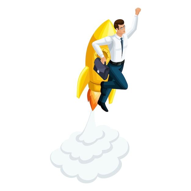 Бизнесмен взлетает, ракета летит вверх, символ свободы и богатства, преуспевает, запускает стартап ico Premium векторы