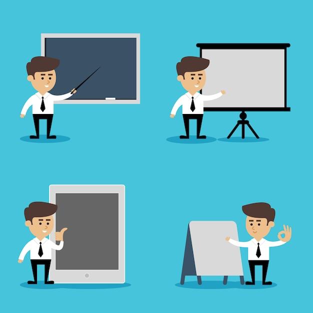 Businessman presentation set Free Vector