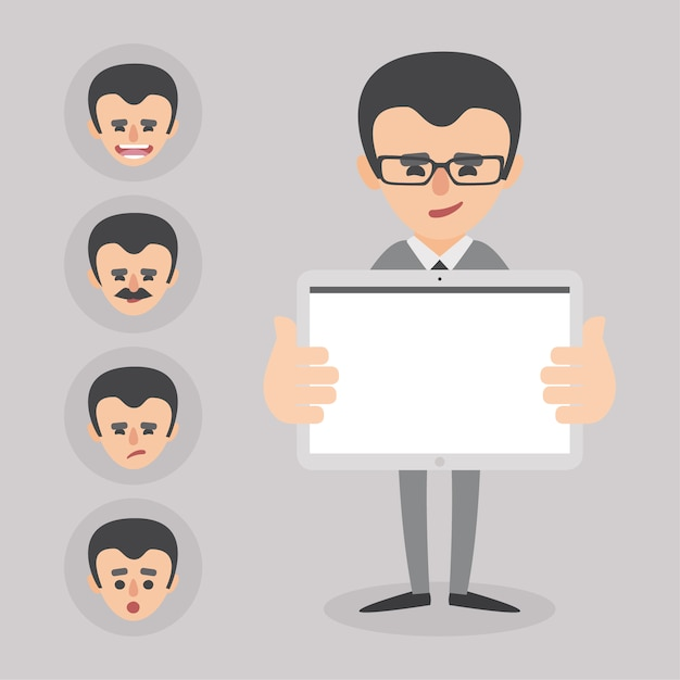 Businessman presenting a proyect with different faces collection Free Vector