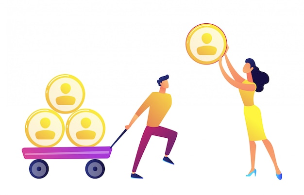 Businessman pulling cart with people profiles pyramid and woman giving one vector illustration. Premium Vector