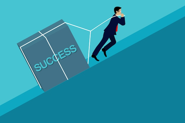 Businessman Pulling The Concrete Up The Slope, Go To The Goal Of Business Success