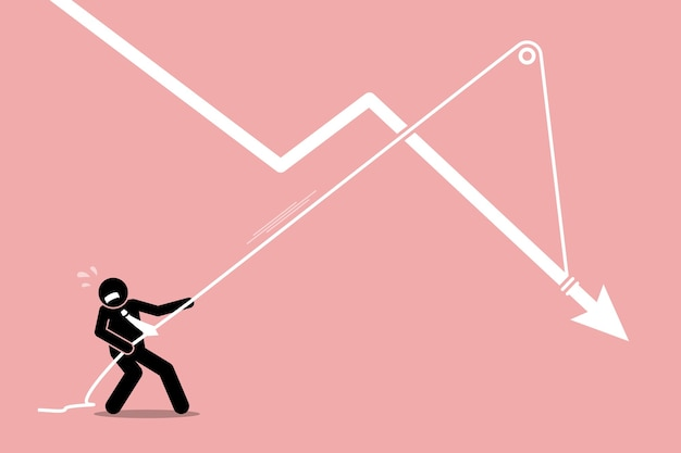 Businessman pulling a falling arrow graph chart from further dropping down.  artwork depicts economy crisis, downturn, financial pressure, and burden. Premium Vector