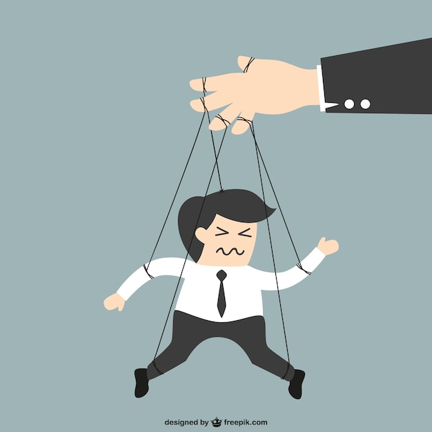 Businessman puppet cartoon Free Vector