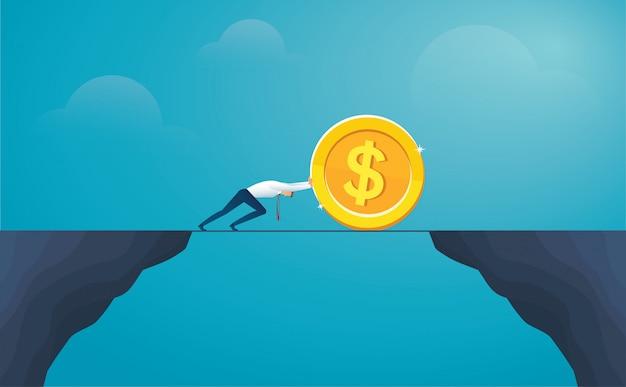 Businessman push coin dollar cross the mountain Premium Vector