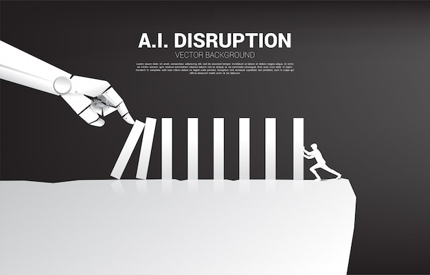 Businessman push the domino to fight with robot hand. business concept of disruption of a.i. to make the domino effect. Premium Vector