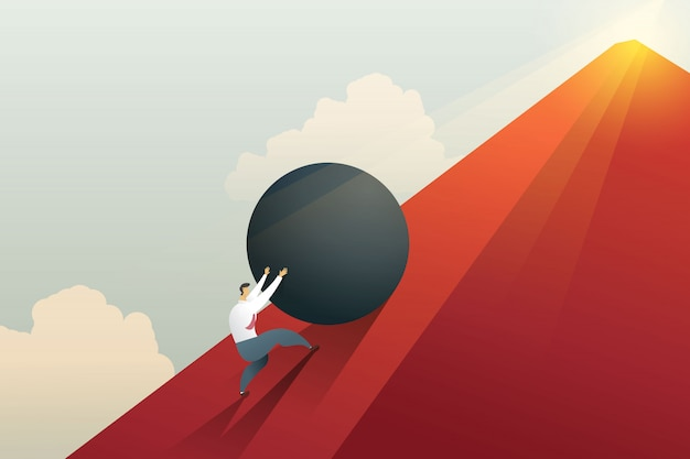 Businessman pushing boulder up to hill and hard work challenge. Premium Vector