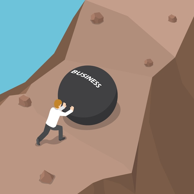 Businessman pushing heavy ball with business word to uphill Premium Vector