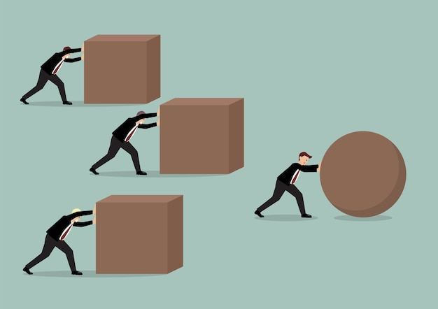 Businessman pushing a sphere leading the race against a group of businessmen Premium Vector