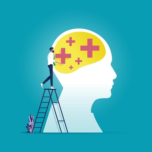 Бизнесмен положил позитивное мышление на большую голову, символическую творческую стратегию успеха Premium векторы