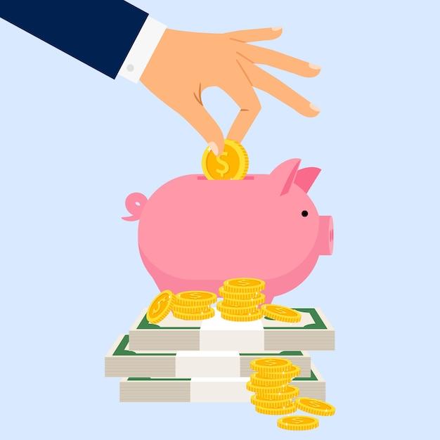 Businessman puts coin in piggy bank Premium Vector