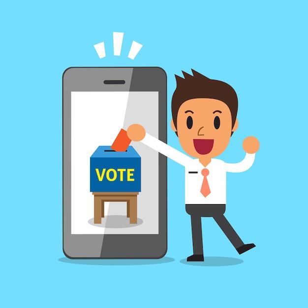 Бизнесмен, положив бюллетень для голосования в смартфон Premium векторы