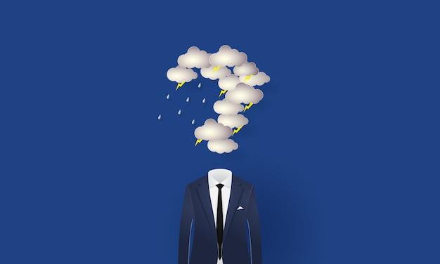 Businessman under the question mark shaped rain cloud and lighting, concept inspiration business, paper cut Premium Vector