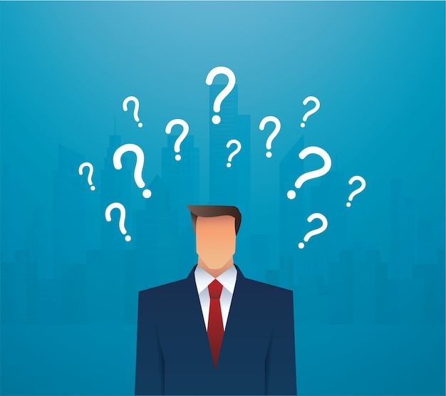 Businessman and question marks illustration Premium Vector
