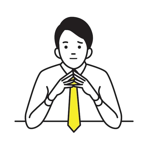 Businessman raised and steeple hands Premium Vector