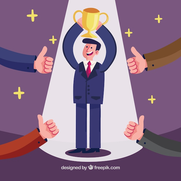 Businessman raising a trophy Free Vector