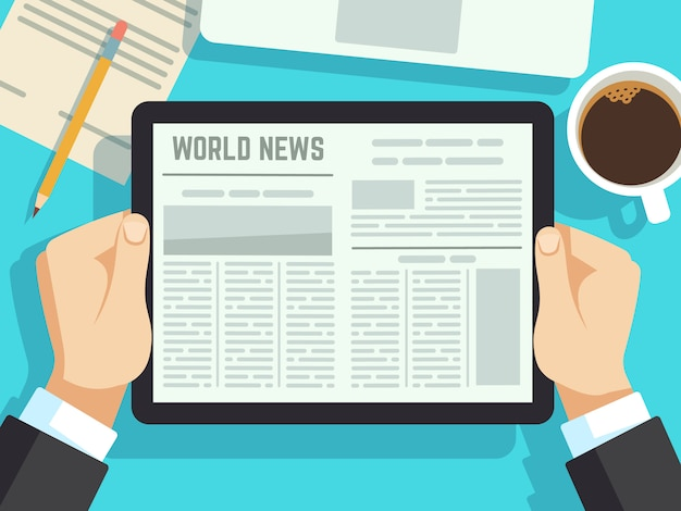 Businessman reading news on on table. online newspaper, daily magazines. Premium Vector
