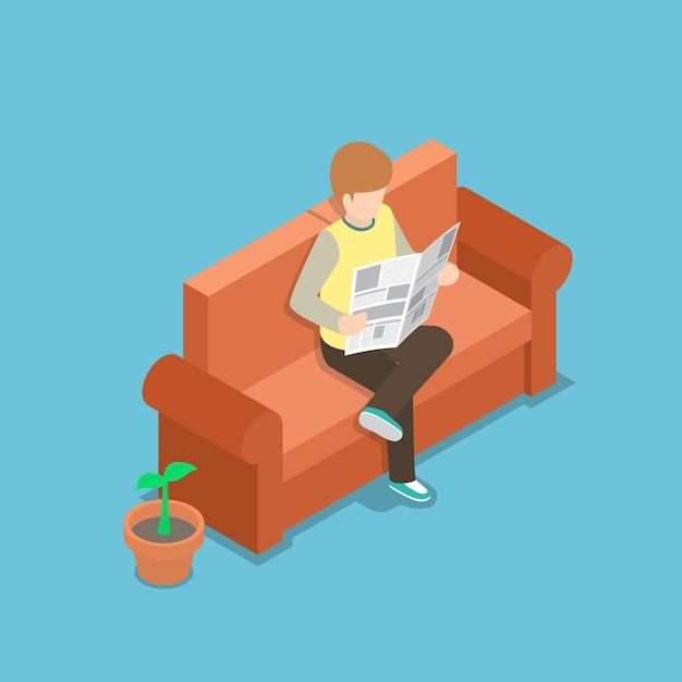 Businessman reading a newspaper on the sofa Premium Vector