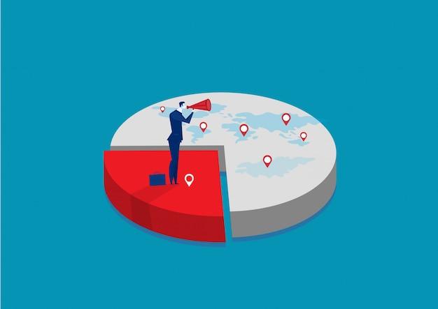 株式市場に関連するビジネスマン。市場のビジネスインフォグラフィックのシェア。市場シェアビジネスコンセプト。 Premiumベクター