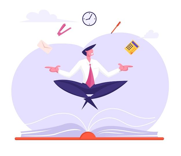 事務用品と蓮華座でリラックスして瞑想するビジネスマン Premiumベクター